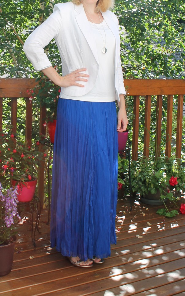Blue crinkle maxi skirt