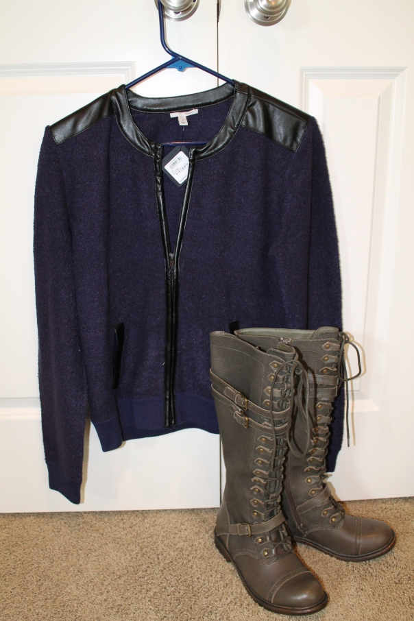 boucle jacket and military boots