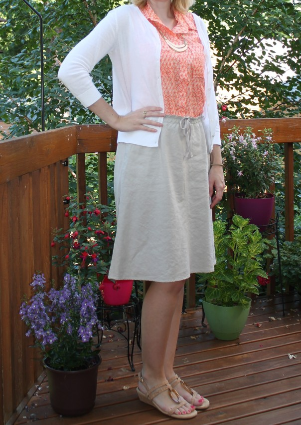 Orange Blouse and Linen Skirt