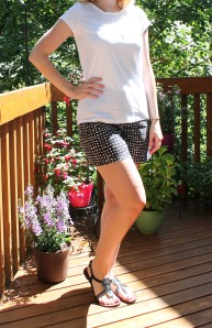 patterned shorts and tee