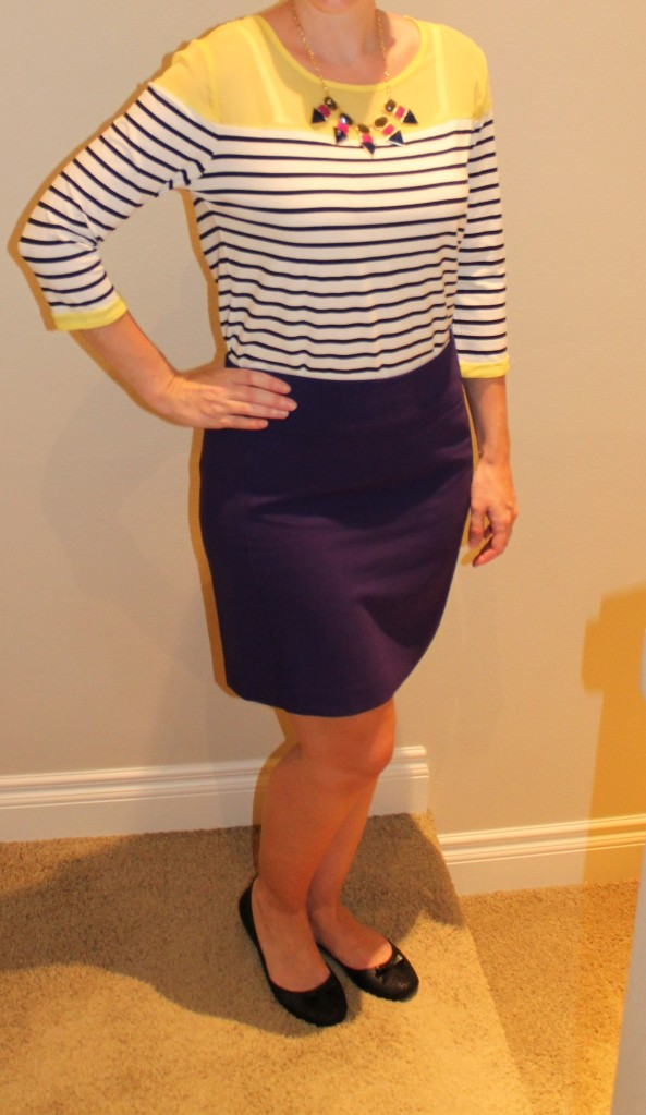 striped top and pencil skirt