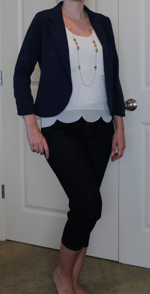 unflattering blazer and white top