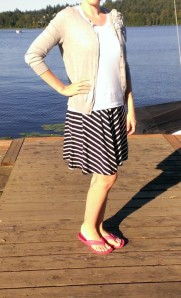 striped swing skirt from Ann Taylor Loft, white Tee and Cardigan