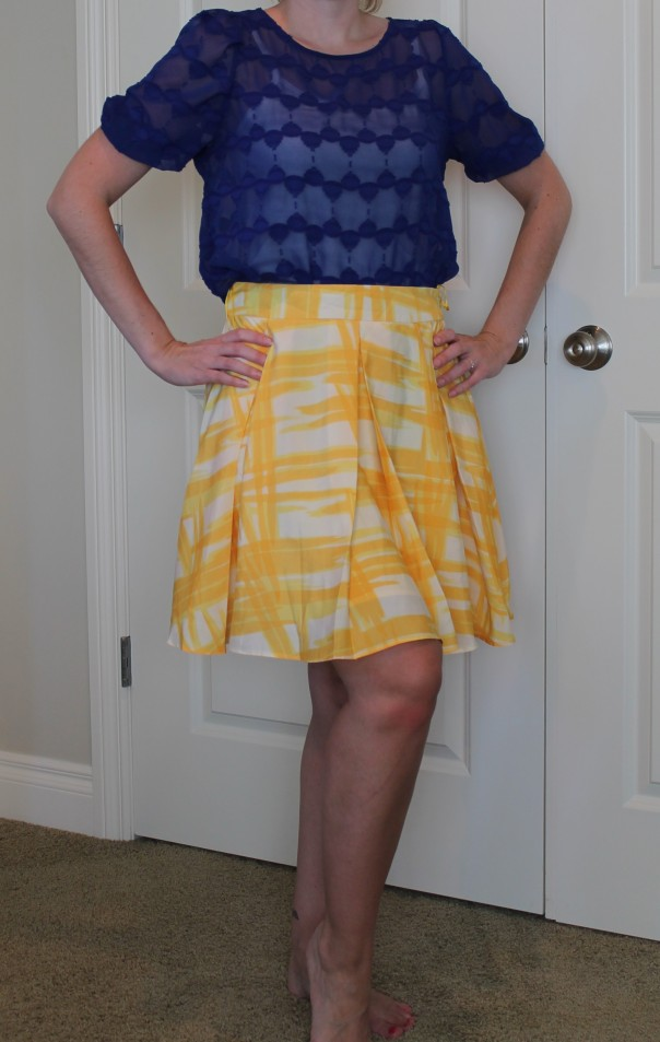Yellow skirt and blue top