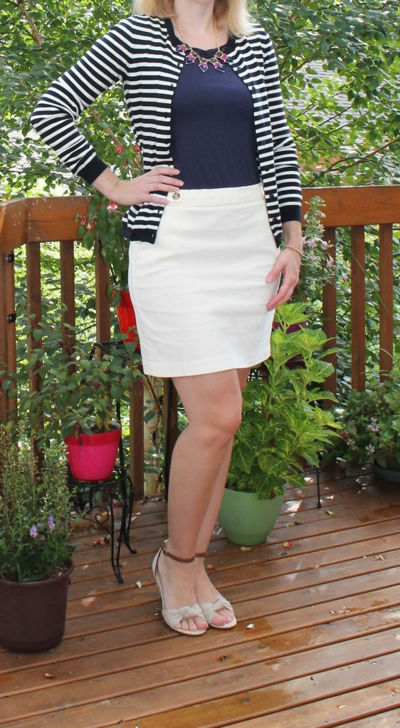 striped cardi and corduroy skirt