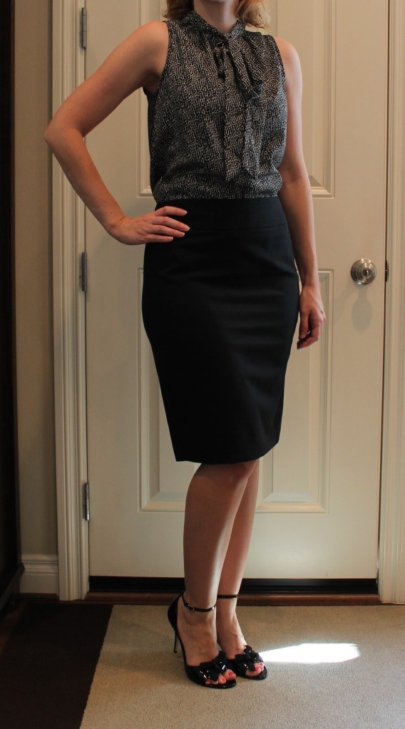 tie neck blouse and pencil skirt