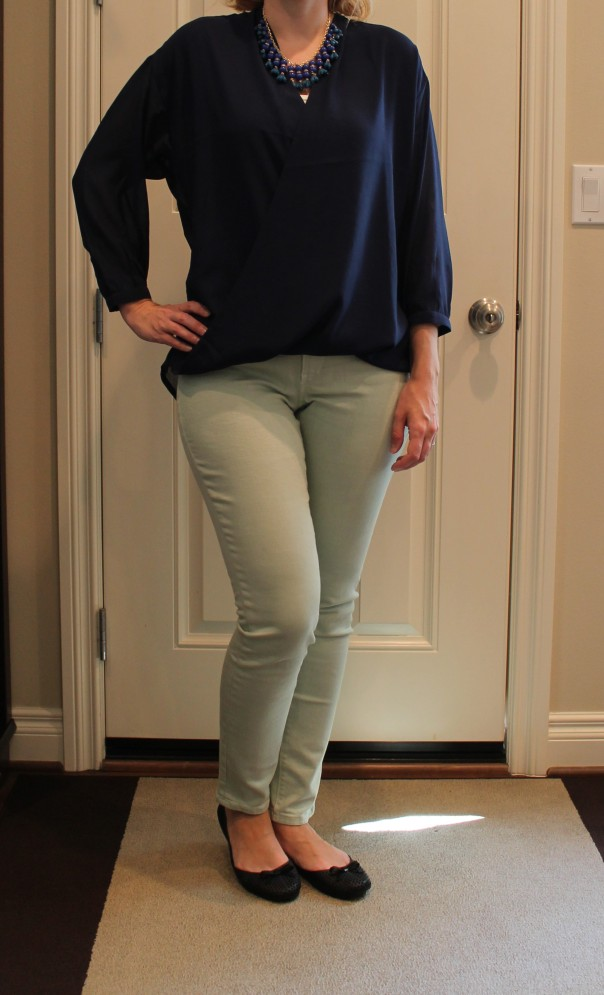 Wrap blouse and colored skinnies