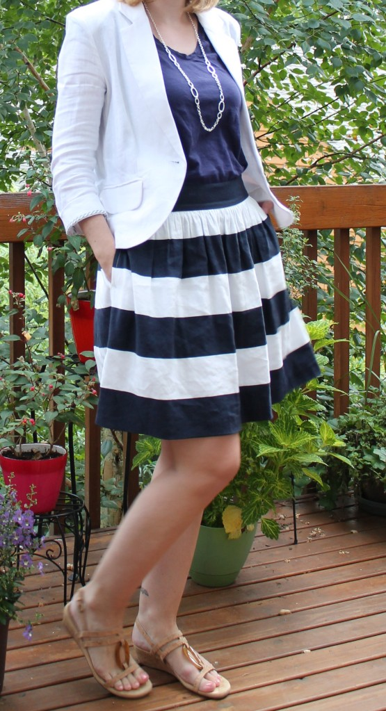 Striped skirt and white blazer