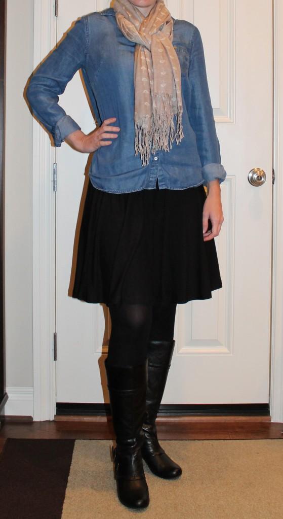 chambray shirt and black skirt