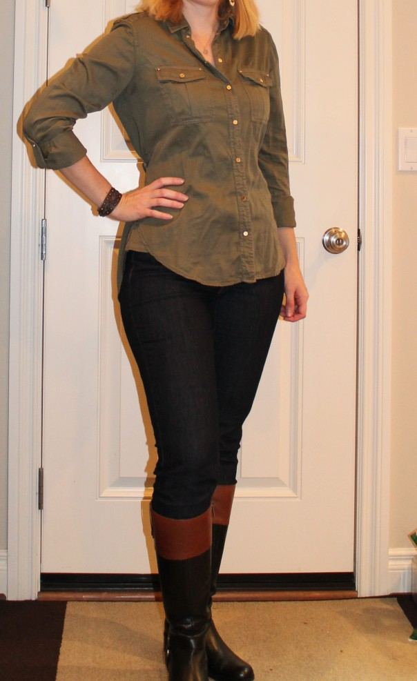 Army blouse and jeans