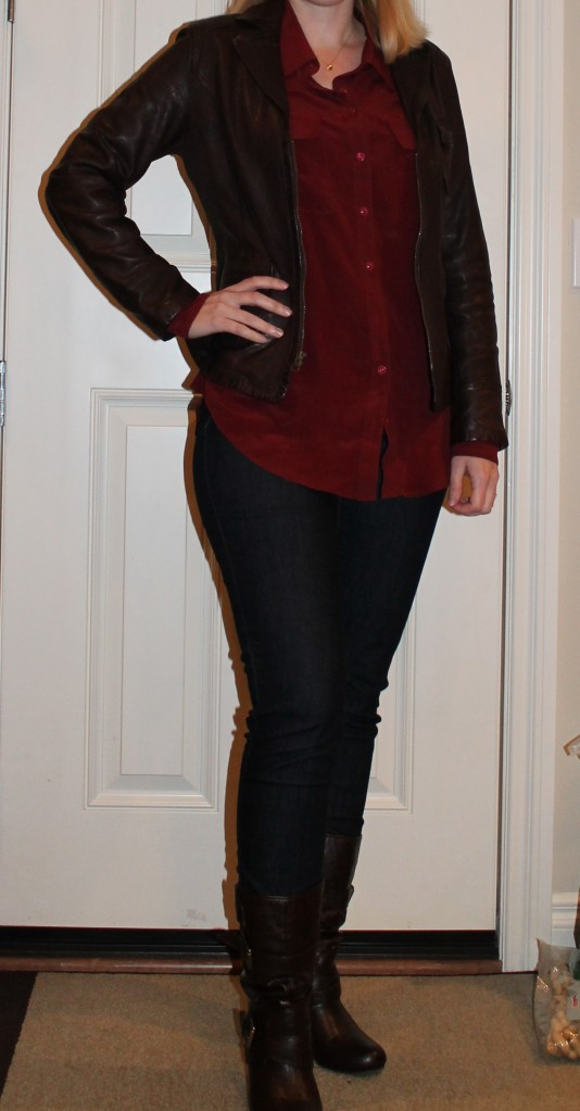 Burgundy Blouse and Leather Jacket