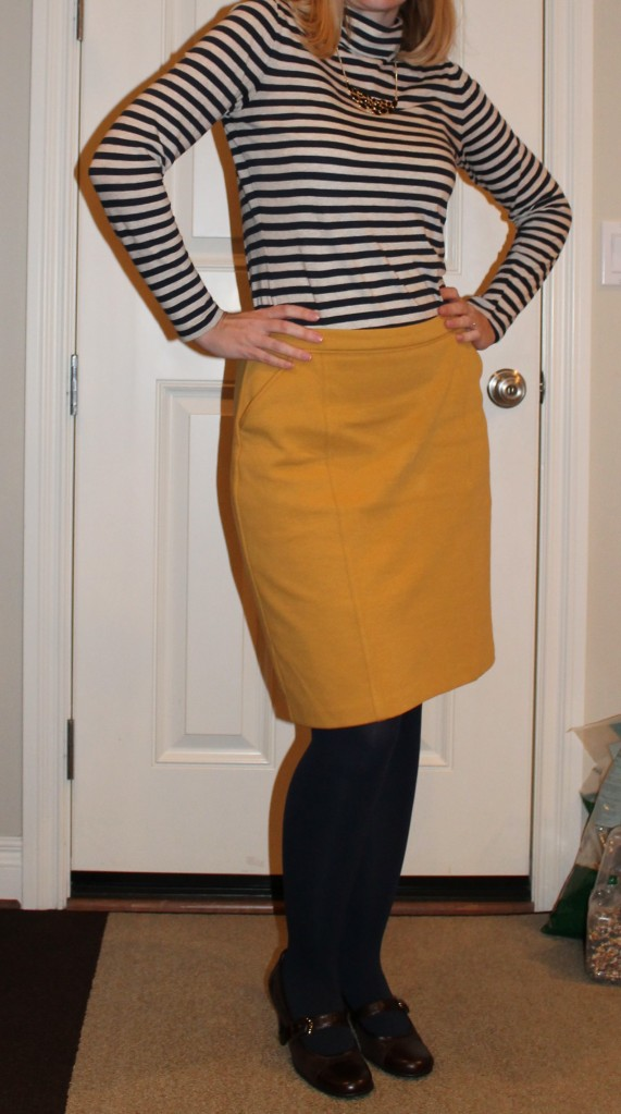 Mustard skirt and striped shirt
