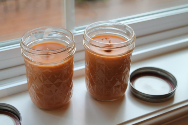 Homemade pumpkin pie candle