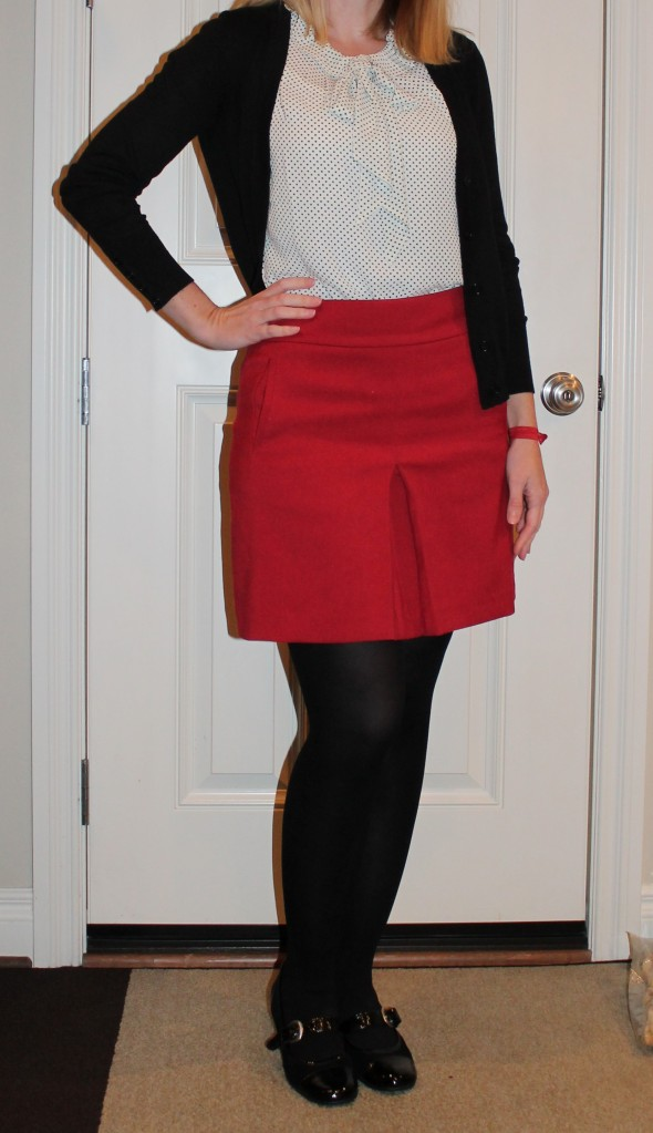 Red Skirt and White Polka Dot Blouse