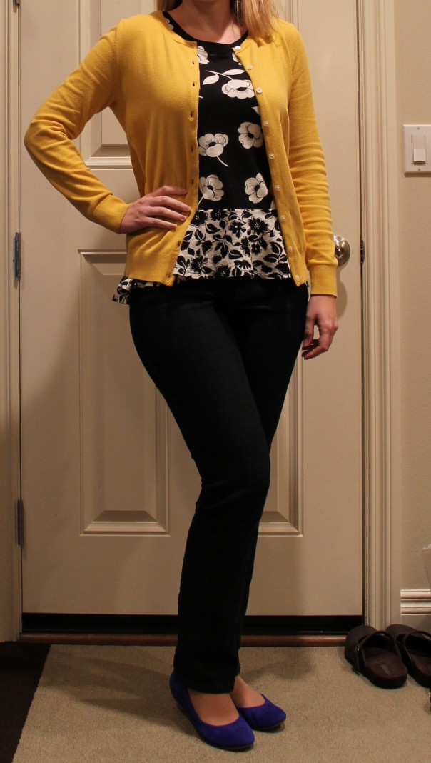 mustard sweater and blue shoes