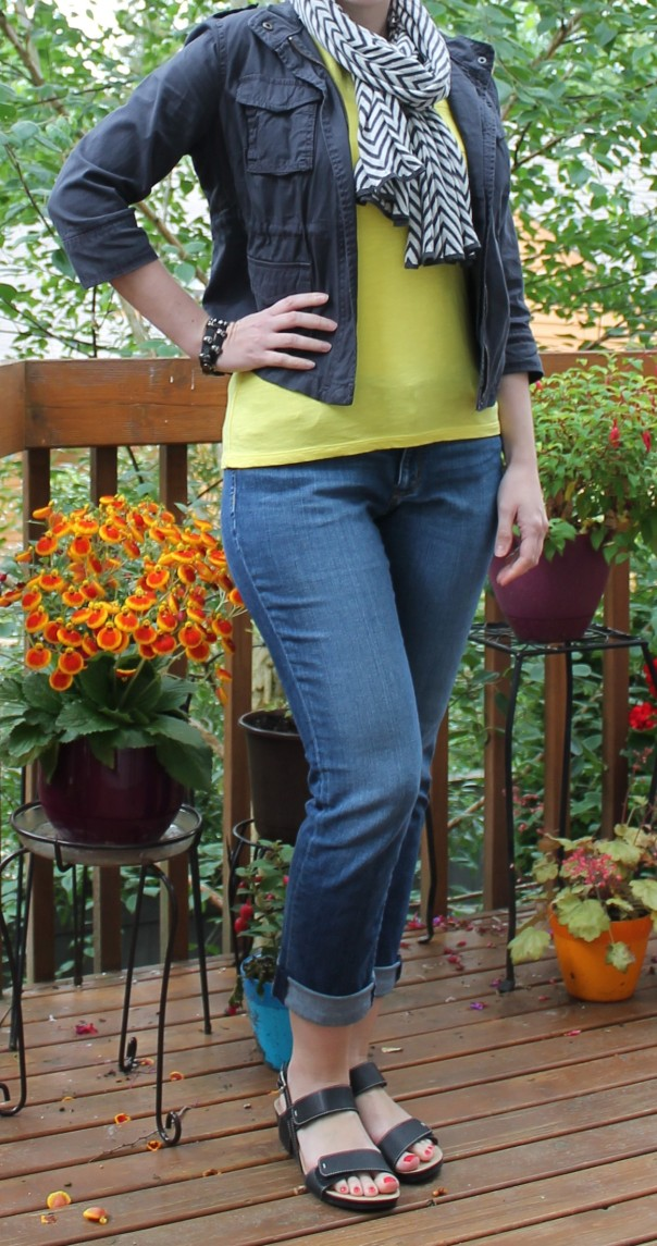 Yellow Tee and Chevron Scarf