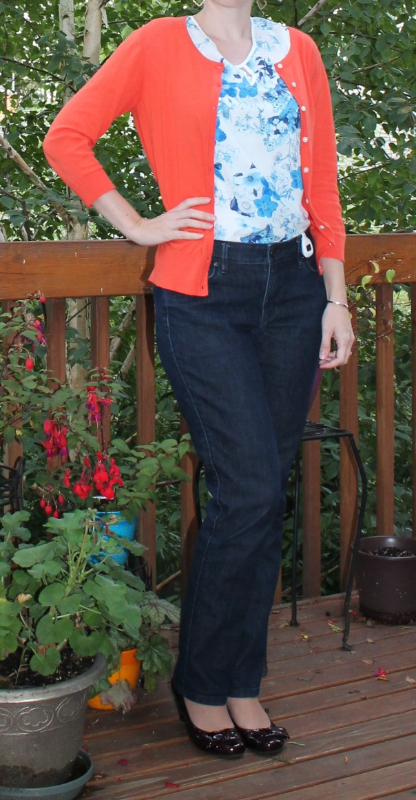 Coral Sweater and Blue Blouse