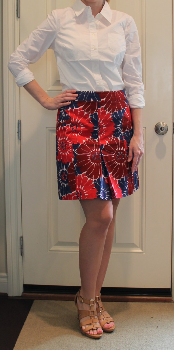Boden Pretty Pleat Skirt and The Shirt